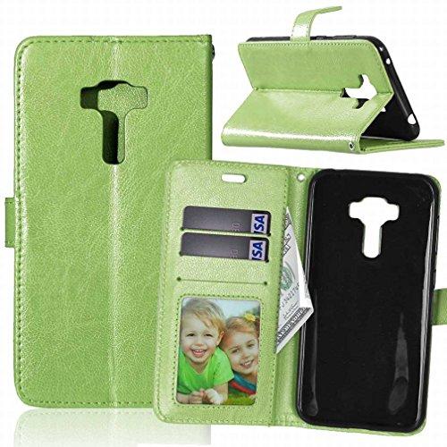 Yiizy ASUS Zenfone 3 ZE552KL Funda, Bastidor Diseño Billetera Carcasa Estuches PU Cuero Cover Cáscara Protector Piel Ranura para Tarjetas Estilo (Verde)