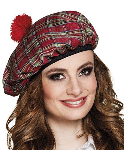 Boland 81225 – Baret Mrs. Tartán rojo a cuadros con borlas rojas, banda elástica, gorro escocesa, sombrero, Escocia, Highlands, disfraz, carnaval, fiesta temática