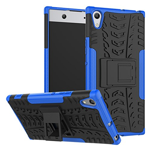 HongMan Handyhülle Kompatibel mit Sony Xperia XA1 Ultra Hülle, Outdoor Handy Tasche Dual Layer Hybrid Hülle Stoßfest Schutzhülle mit Ständer, TPU Silikon + Hard PC Cover Bumper, Blau