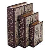 HMF 80961 Libro Segura'Ciudades' Conjunto de 3, Aspecto Antiguo, Caja de Caudales Camuflada, 32,5 x 23,5 x 7,5 cm