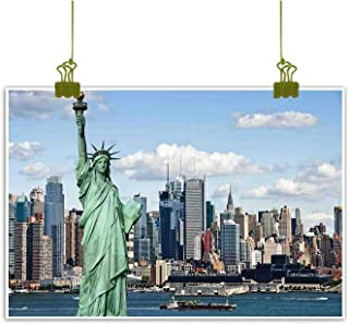 New York Art Oil Paintings Statue of Liberty in NYC Harbor Urban City Print Famous Cultural Landmark Picture Canvas Prints for Home Decorations 32
