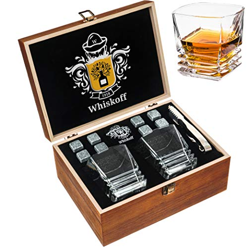 Whiskey Stones Gift Set - Heavy Base Glasses For Scotch Bourbon Drinker- Whisky Rocks Chilling...