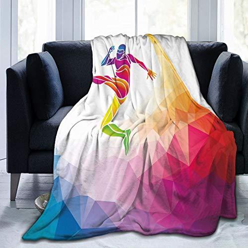 Manta esponjosa, Fractal jugador de fútbol golpeando la pelota, ilustración artística poligonal, ultra suave, manta de bebé, manta para dormitorio, cama, TV, manta de cama de 152 x 127 cm