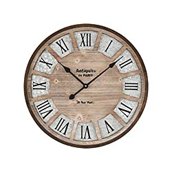 AR Lighting Pollock Wall Clock in Brown and Galvanized Steel