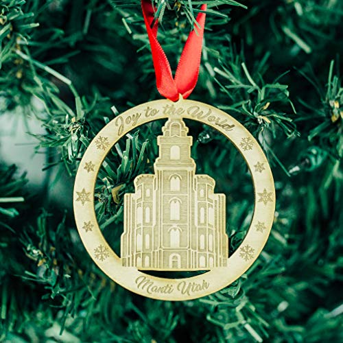 LDS Manti Temple Ornament - Wood