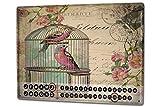 Leotie GmbH Calendario perpetuo Especies Aves Jaula de pájaro Metal Imantado