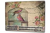 カレンダー Perpetual Calendar rative Vet Practice Bird cage Tin Metal Magnetic