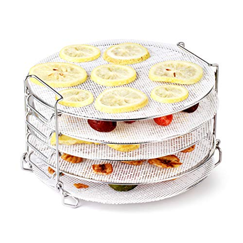 AIEVE Dehydrator Rack, Five Layers Stainless Steel Dehydrator Stand with Silicone Dehydrator Sheets Compatible with ninja foodi Pressure Cooker and Air Fryer 6.5, 8 Quart, Instant Pot Air Fryer 8 Qt