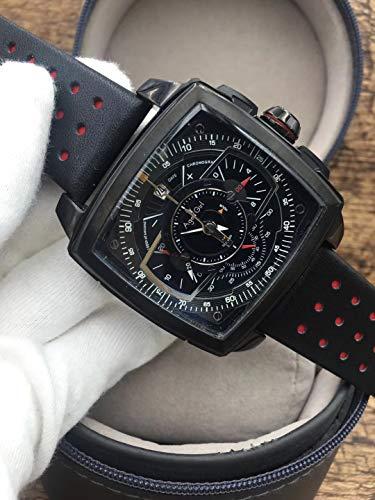 Luxury Silver Quadrato Nero Acciaio Inossidabile Orologi da Uomo Cronografo al Quarzo cronografo Zaffiro Sportivo Orologio in Pelle AAA +3