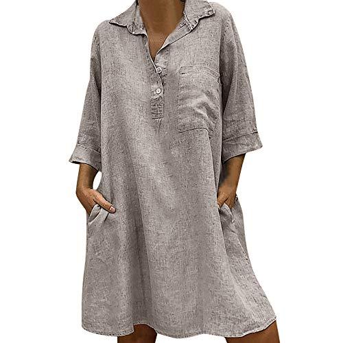 Damen Boho Solide Farbe Revers Kleid Sieben-Punkte-Ärmel Blusenkleid Womens Lässige Lose Minikleid with Pocket Schaltfläche Baumwolle und Linen Materialien