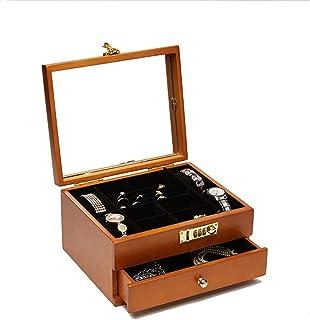 Lwieui Caja de Reloj 2 Capas de Madera Maciza de Reloj Caja de Almacenamiento con la Caja de contraseña joyería Caja de Al...