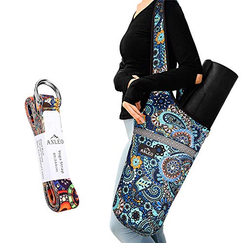 Anleo Yoga Mat Bag + Yoga Strap Set, Heavy Duty Cotton Shoulder/Cross-Body Yoga Mat Carry Bag with Large Size Outside Pocket and Inside Zipper Pocket, Fit Most Size Mats