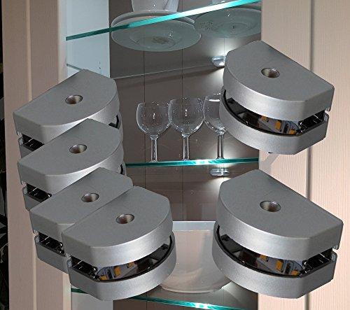 Preisvergleich Produktbild LED 3-Seiten Glasbodenbeleuchtung Glaskantenbeleuchtung 6-er Set + Möbeltrafo warmweiß / 2295-6 / 4189-6W / Glasplattenbeleuchtung Möbelbeleuchtung