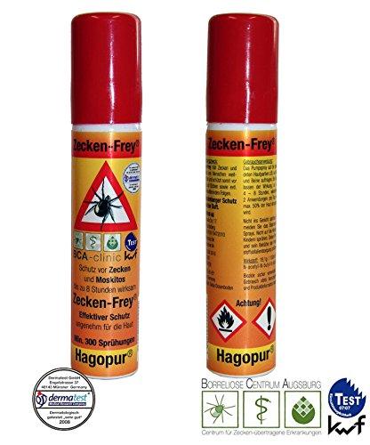 Duo-Pack: 2 x Zecken Frei Spray Zecken-Frey Spray hilft gegen Zecken Ixodida Milben Stechmücken Bremsen & ähnlichen Insekten 2 x 25 mL Vorbeugung von Zeckenbiss Rücksack für Camping Outdoor Freizeit