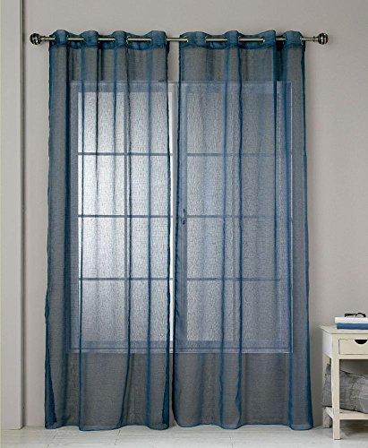 RIOMA Jerez Ollados Cortina Visillo, Tela, Azul, 140 x 270 cm