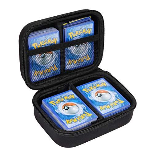 Yosuny Hard Compatible Case für Pokemon-Sammelkarten. Hält bis zu 400 Karten Spielegestell mit herausnehmbarer Trennwand (Dunkles Schwarz)