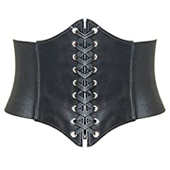 → Front: lace up design. Back: closure by two nylon bands, pressed and bonded together ( adhesive tape closure ), makes it easy to put on and remove. → PU leather underbust corset with wide elastic belt, the retro designed changes the look of your cl...