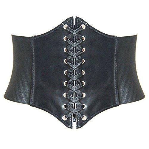 HANERDUN Damen elastischen Retro Gürtel Korsett mit Klettverschluss Taille Hüftgurt Vier Größen, Schwarz,M