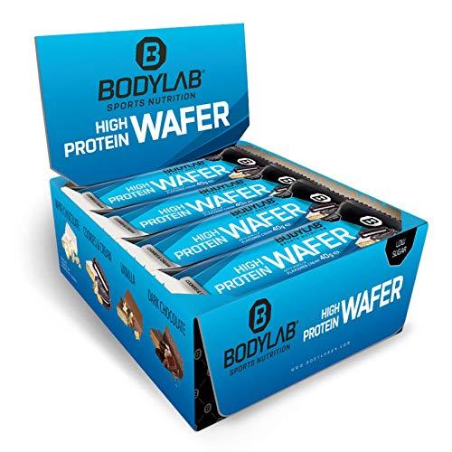 Bodylab24 High Protein Wafer 12x40g | Protein Waffel Snack | Lecker knuspriger Eiweißriegel | Cookies & Cream