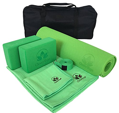 Yoga Set Kit 7-Piece 1 6mm Yoga Mat, Yoga Mat Towel, 2 Yoga Blocks, Yoga Strap, Yoga Hand Towel, Free Carry Case - Green Yoga Set