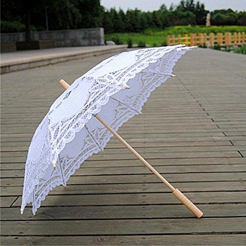 bpblgf Ombrello da Sposa A Mano con Ricami in Cotone per Matrimonio Ombrello da Ballo con Ricami in Cotone per Matrimonio, Bianca, 68 * 48