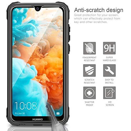 AROYI Huawei Y6 2019 Hülle + Panzerglas, Outdoor Handyhülle Tough Silikon TPU + PC Bumper Doppelschichter Schutz Schutzhülle Case für Huawei Y6 2019 Schwarz