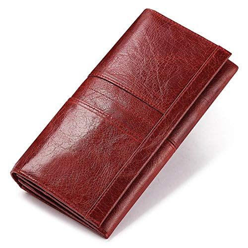 Damen Echtleder Geldbörse Taled Geldbeutel aus hochwertigem Büffelleder mit RFID-Schutz - Damen Geldbörse Rot