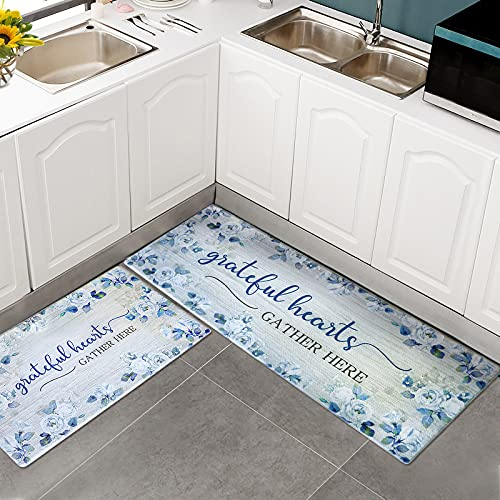 LOHOMEVE Cushioned Anti Fatigue Kitchen Mat 2 Piece, Waterproof Non Slip Heavy Duty PVC Kitchen Rugs and Mat, Comfort Standing Mat for Kitchen, Floor, Laundry (Blue Flower)