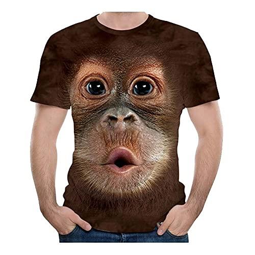 Camiseta Hombre Estampado 3D Divertido Estampado De Orangután Cuello Redondo Manga Corta Camiseta Casual Moda Hippie Fiesta Camiseta Casual T01 5XL