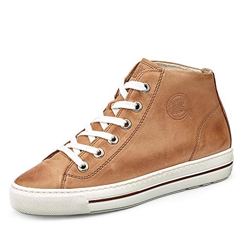 Paul Green 4735 Damen Sneakers Beige Washed Kid Cuoio, EU 40