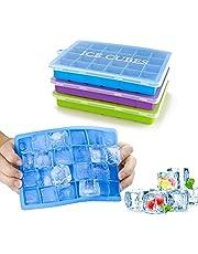 Morfone Isformar, 3 Stycken Silikon Isglass Form Isglasslagare Med Lock Ice Cube Tray, isbitsform, LFGB Certifierad, 24 Fack