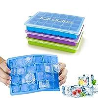 Eiskübel mit Deckel - Fügen Sie einen zusätzlichen Deckel hinzu, um die Eiswürfel sauberer zu machen. 3 Eiskübel (grün, blau und violett), aus denen jeweils 24 Eiswürfel hergestellt werden können. Diese Eiswürfel sind wichtig für Familien, Partys und...