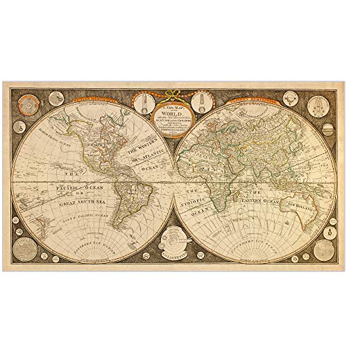 Captain Cook 1799 Large Vintage World Map Poster - Canvas Fabric Print Map of The World - World Map Wall Art/Old Decor/Antique Maps/Wall Hanging - 42 x 24 Inches (Large) Old World Vintage Map