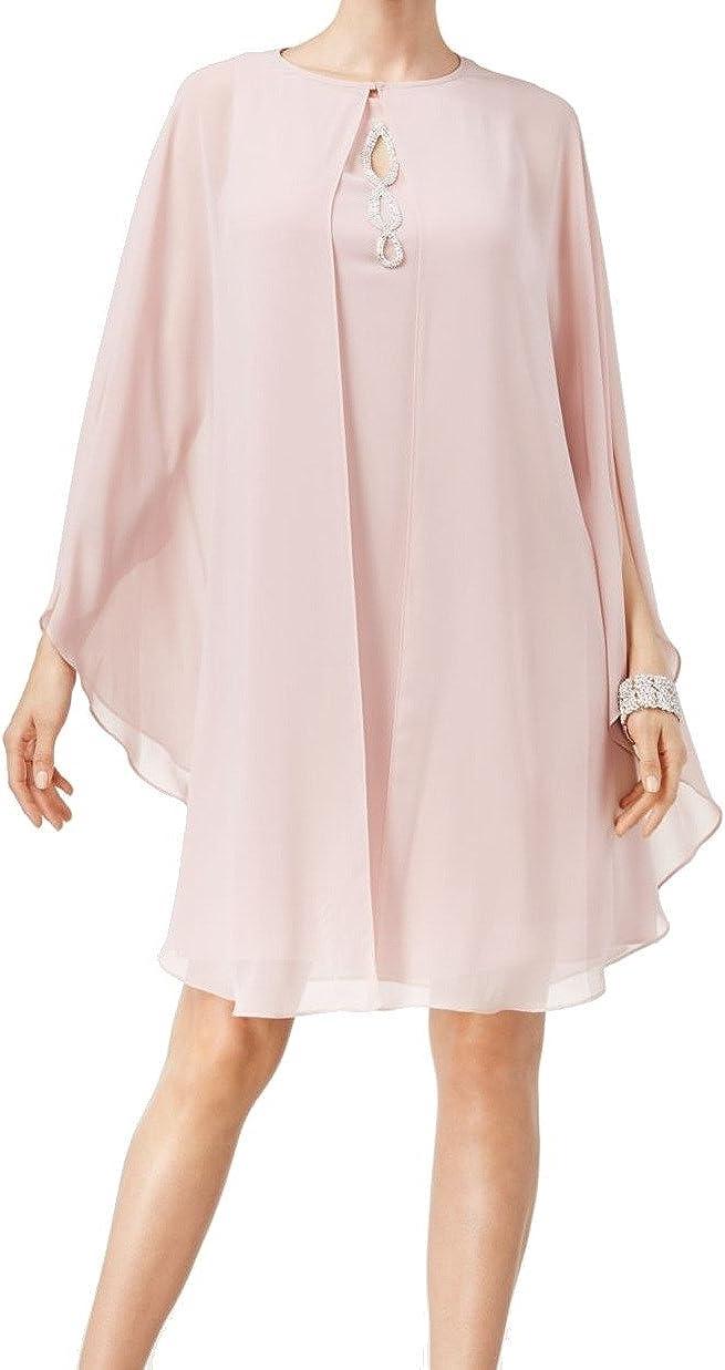 S.L. Fashions Women's Two Piece Knee Length Capelet Jacket Dress Keyhole Neckline