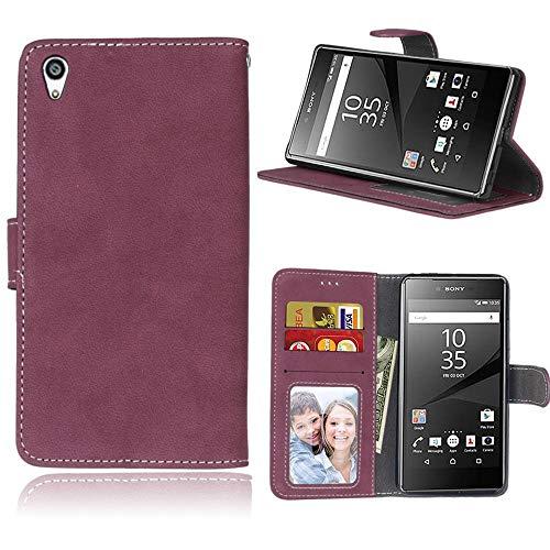Sangrl Lederhülle Schutzhülle Für Sony Xperia Z5 Premium/Dual / Z5 Plus, PU-Leder Klassisches Design Wallet Handyhülle, Mit Halterungsfunktion Kartenfächer Flip Hülle Rose rot