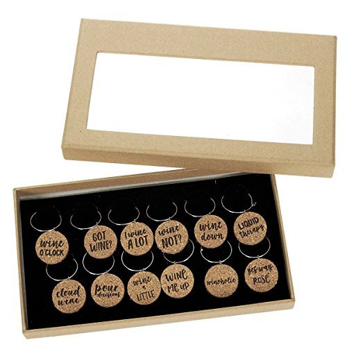 Funny Wine Glass Charms (Cork, 12 Pack)