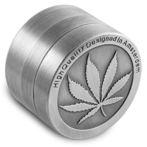 Für Tabakblätter, Zinklegierung, 40 mm, 4-teilig, mit Pollenfänger, inkl. Schaber