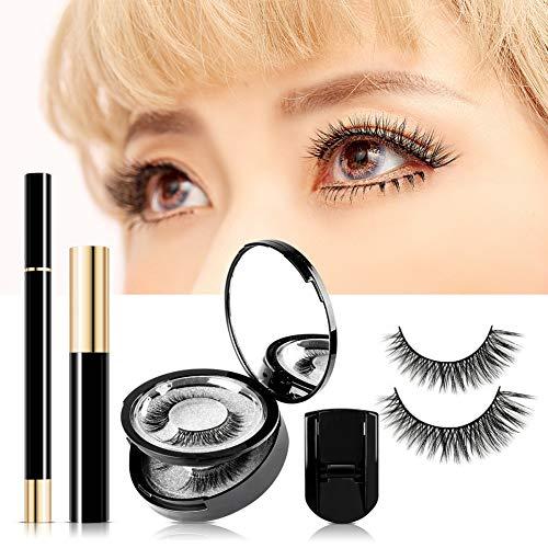 Qianren Magnetic Wimpern Set - 3 Paare Falsche Wimpern + 1 Magnetic Liquid Eyeliner + 1 Eyes Mascara + 1 Wimpernzange