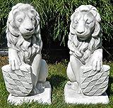 Skulptur Gartenskulptur Beton Figuren Löwen mit bayrischem Wappen auf rechter und linker Seite H 39 cm Dekofiguren und Gartenskulpturen