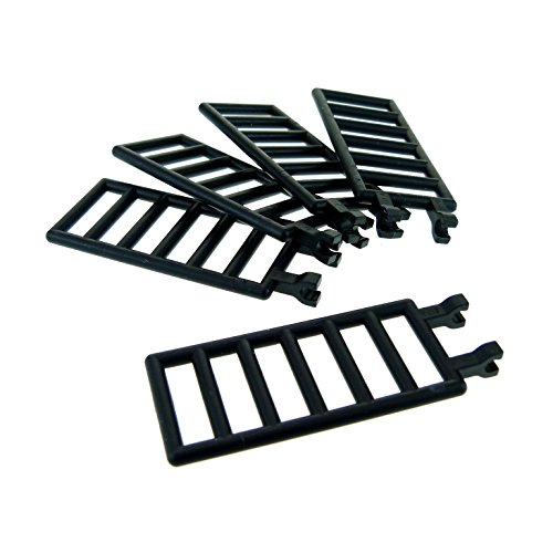 5 x Lego System Zaun schwarz 7x3 mit 2 Clip Gatter Zäune mit Steck Scharnier Leiter 10014 6208 6020