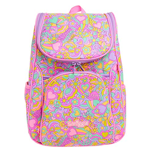Smiggle Good Vibes Access School Backpack for Girls & Boys with Laptop Compartment and Dual Drink Bottle Sleeves | Heart Print