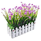 XONOR - Pianta di fiori artificiali resistenti ai raggi UV con vaso di recinzione per casa, ufficio, interno, esterno, giardino, decorazione per feste di nozze, colore: Rosa