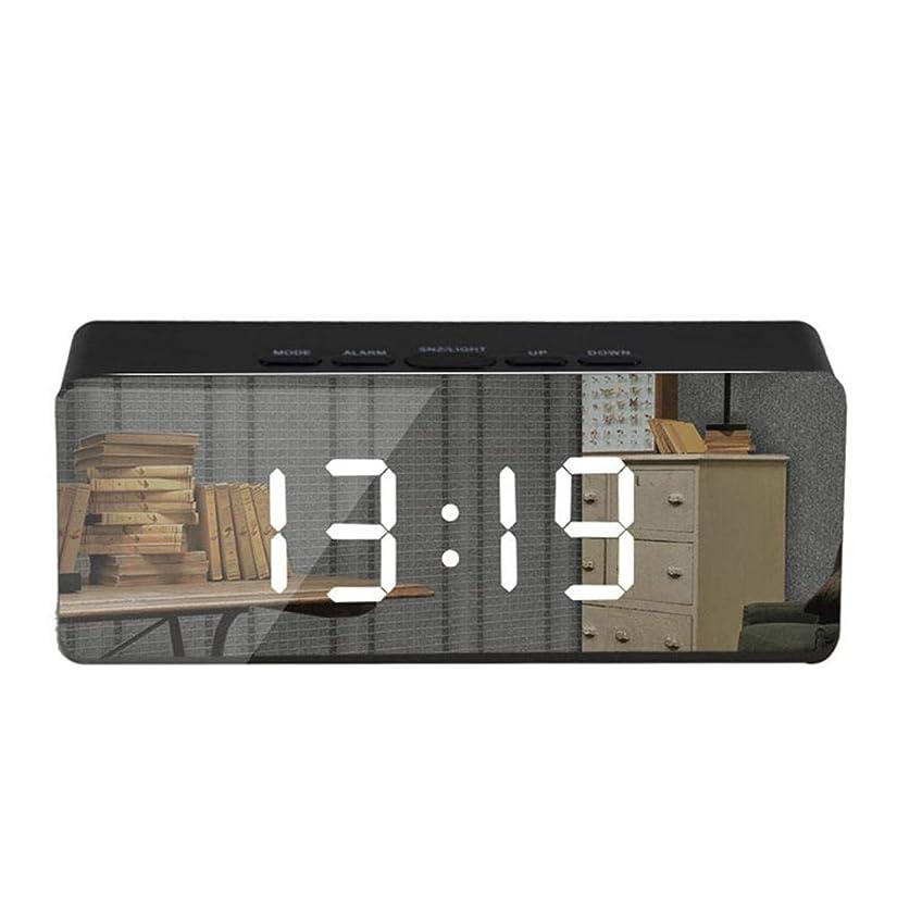 独裁者リーダーシップ副産物東久目覚まし時計日付表示電池式バックライト デジタルめざまし時計アラーム&スヌーズ機能卓上 置き時計(鏡)