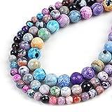 Perles en Pierre D Agates De Feu Bleues Naturelles Rondes Amplios Pour La Fabrication de Bijoux 15 Poubes 6/8/10 / 12mm BRICOLAGE-Agates coloridos2_4mm alrededor de 91pcs