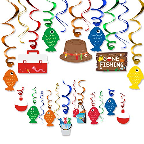 30CT Gone Fishing Party Hanging Swirl Decorations Kit Little Fisherman The Big One Birthday Baby Shower Photo Props Summer Reel Fun Ideas Ceiling Door Foil Whirls Streamers Supplies
