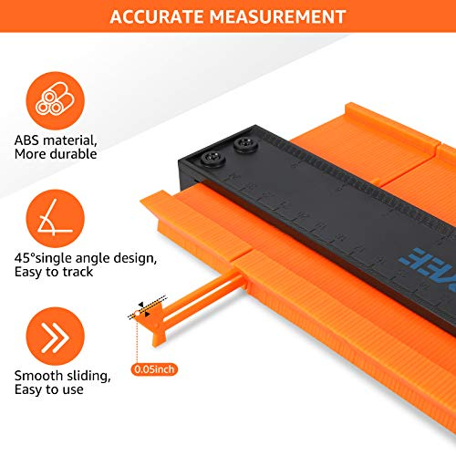 Contour Gauge with Lock, 2 Pack Upgraded Wide Contour Gauge Duplicator Profile Tool, Adjustable Master Outline Measuring Ruler for Corners, Woodworking Templates, Tiles and Laminate by Enjoyee