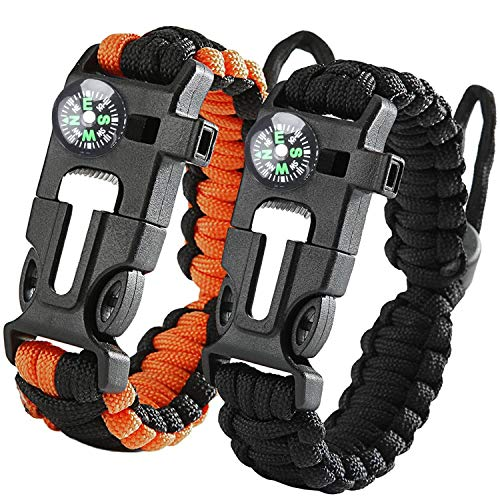 Konesky Survival Armband, 5 in 1 Paracord Armbänder Kit Notfall 2 Pack mit Kompass Whistle Feuer Starter für Männer Frauen Kinder zum Wandern, Camping, Reisen