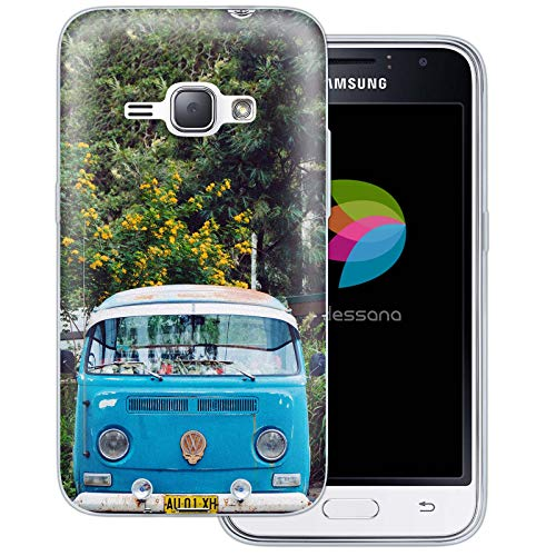 dessana Oldtimer transparante silicone TPU beschermhoes 0,7 mm dunne mobiele telefoon soft case cover tas voor Samsung Galaxy A J, Samsung Galaxy J1 (2016), Oldtimer bus