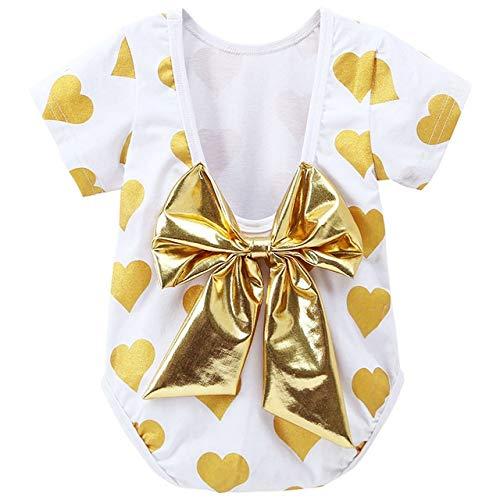 LiuQ Bébé Barboteuse Nouveau-né bébé Coeur à Manches Courtes Imprimer été Backless Romper 0-24M Infantile Mode d'or Bowknot Jumpsuit for Les vêtements Fille (Color : Gold, Taille : 3M)