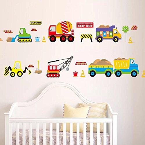 Muurstickers 4U- Muurtattoo kinderkamer voertuig I | Muurschilderingen 130x50 cm | Muurstickers Auto bouwplaats landbouwmachines graafmachines Muursticker auto 's straatverkeer | Deco voor jongens en kinderen